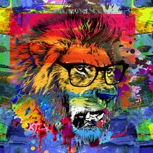 Lion Head In The Night With Glasses