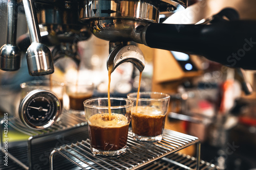 Fotografie, Obraz Make coffee from the machine at home.