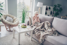Portrait Of Nice Sick Elderly Grey-haired Woman Lying On Divan Sneezing Feeling Bad In House Flat Living-room Indoors