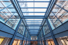 Interior View Of Modern Shopping Mall. Building Abstract Background