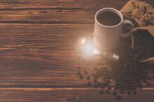 Love Drinking Coffee, Coffee Cup Light Bulb Emitting Energy