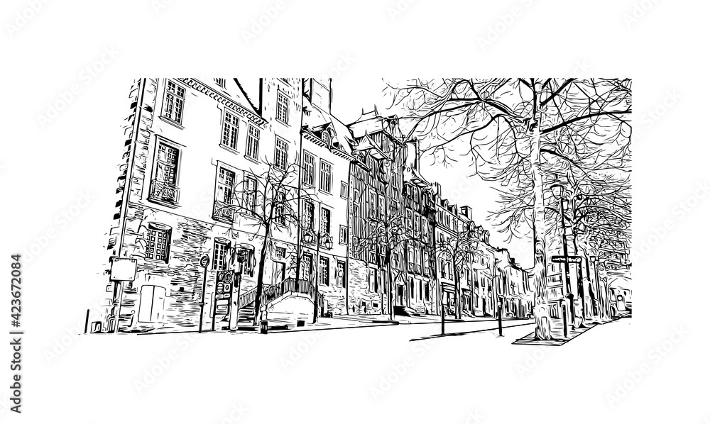 Fototapeta Building view with landmark of Rennes is the  city in France. Hand drawn sketch illustration in vector.