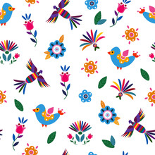 Seamless Pattern With Cute Birds And Flowers For The Holiday Cinco De Mayo. Endless Textures For Your Design.