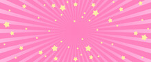 Pink Abstract Background With Stars. Abstract Pink Background With Little Stars. Decoration Banner Themed Lol Surprise Doll Girlish Style. Invitation Card Template
