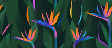 Hand Drawn Abstract Jungle Pattern With Strelitzia Flower. Creative Collage Contemporary Seamless Pattern. Natural Colors. Fashionable Template For Design.