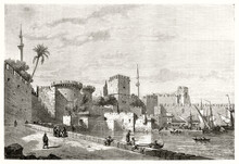 Rhodes Stone Buildings Overall View Fronting Seaport With Ships And People Walking On Seafront. Ancient Grey Tone Etching Style Art By Maurand, Le Tour Du Monde, 1862