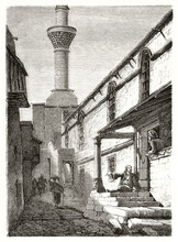 Side Portal Of Saint-Jean Cathedral Coming Out Into A Medieval Alley In Rhodes. Ancient Grey Tone Etching Style Art By Hildibrand, Le Tour Du Monde, 1862