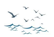 The Blue Sea With Flying Birds.