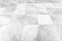 Perspective View Monotone Gray Brick Stone Pavement On The Ground For Street Road