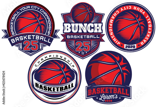 Papel de parede Set of color templates on the theme of basketball