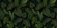 Seamless Pattern With Tropical Green Palm, Colocasia, Banana Leaves. Hand Drawing Botanical Vintage Background. Suitable For Making Wallpaper, Printing On Fabric, Wrapping Paper, Fabric, Notebook Cove