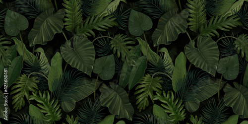 Fotografering Seamless pattern with tropical green palm, colocasia, banana leaves