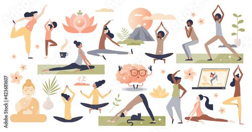 Fototapeta Yoga, meditation and stretching exercise for wellness set tiny person concept obraz