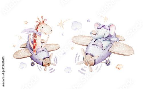 Watercolor purple illustration of a cute animal safary giraffe and fancy sky scene complete with airplanes and balloons, clouds. Baby Boy and girl pattern. baby shower