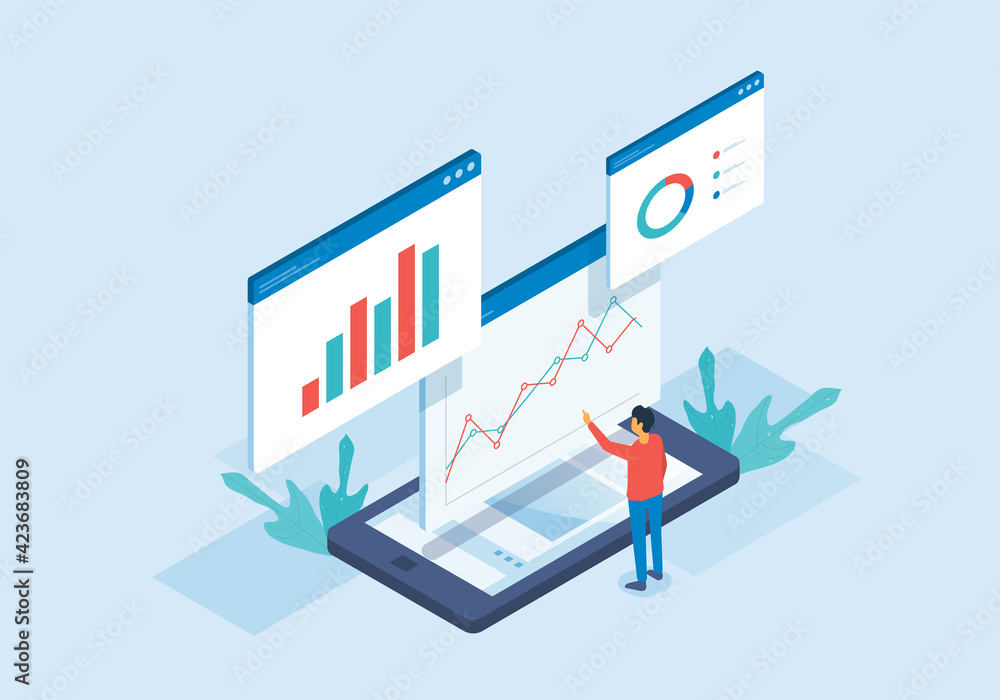 Fototapeta Isometric flat vector web analysis and people working for data analytics and monitoring on web report dashboard monitor and business finance investment concept