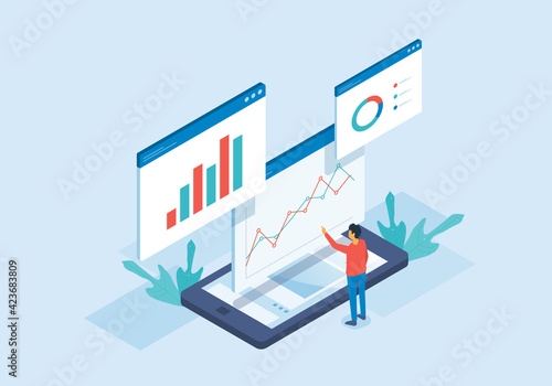 Isometric flat vector web analysis and people working for data analytics and monitoring on web report dashboard monitor and business finance investment concept