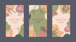 Vector set of editable banners with abstract shapes and floral elements in natural shades. Template for internet advertising and social media posts.