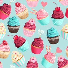 Seamless Vector Pattern With Pastel Pink Cupcakes