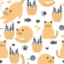 Cute Seamless Vector Background With Funny Cats And Flowers In Cartoon Style