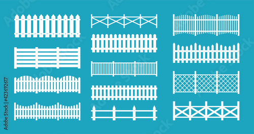 Fototapeta Wooden and metal fences. Vector set of silhouettes fences and pickets for garden, park, backyard, rural landscape. Seamless wood boards isolated on white background. Different types of fences obraz
