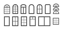 Window Frame. Silhouette Of Window. Outline Icon Of House, Building And Facade. Black Decorative Arch And Frame For Office, Architecture. Closed Balcony In Wall. Editable Exterior Isolated. Vector