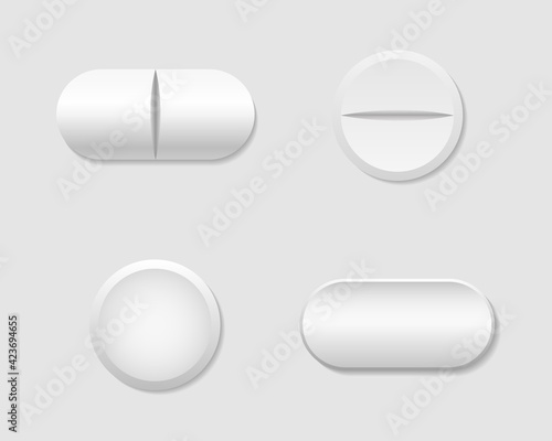Fototapeta Pill and capsule. White round tablet. Realistic medicine for healthy. Pill of aspirin. Drug and vitamin isolated on white background. Pharmacy capsule of antibiotic, painkiller. Medical icon. Vector. obraz na płótnie