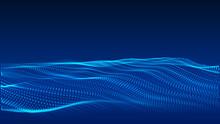 Artificial Intelligence Concept. Big Data Visualization. Blue Cyber Technology Wave. Vector Illustration.
