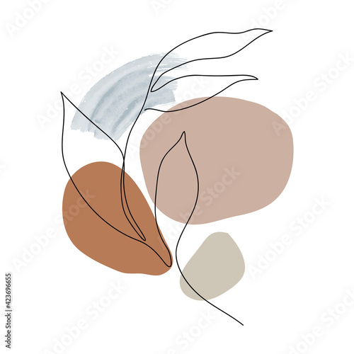 Obraz Tree Leaf line arts frame cover collection. Minimalistic modern line art  Tropical leaves with abstract shape background for print, beauty and fashion. vector illustration. - fototapety do salonu
