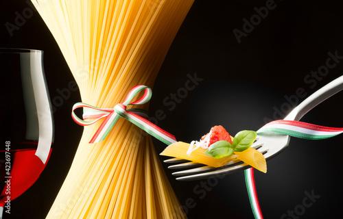 still life with pasta and Italian flag #423697448
