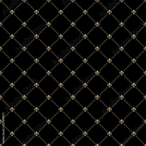 Seamless Vector Pattern With Few Royal Lilies Fototapete