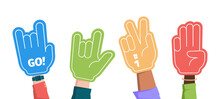 Sport Fans. Crowd Hands Gestures Gloves Foam Fingers Supporting Team Garish Vector Flat Illustrations Collection