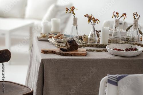 Fototapeta Gluten free bread on rustic style decorated table obraz