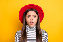Portrait Of Attractive Worried Outraged Puzzled Long-haired Girl Bad News Reaction Isolated Over Bright Yellow Color Background