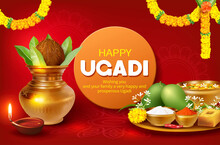 Greeting Card With Kalash And Traditional Food Pachadi With All Flavors For Indian New Year Festival Ugadi (Gudi Padwa, Yugadi). Vector Illustration.