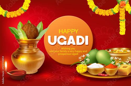 Fototapeta Greeting card with Kalash and traditional food pachadi with all flavors for Indian New Year festival Ugadi (Gudi Padwa, Yugadi). Vector illustration. obraz