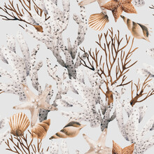 Oceanic Seamless Pattern With Corals On Summer Background. Template Design For Textiles, Interior, Clothes, Wallpaper. Watercolot Illustration.