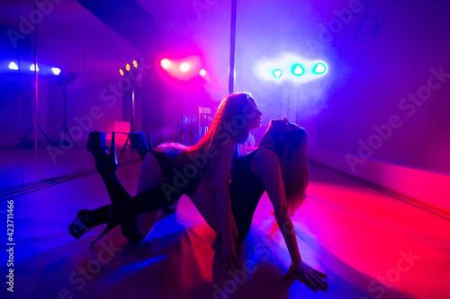 Two young sexy women dancing a striptease near the pylon. Fototapete