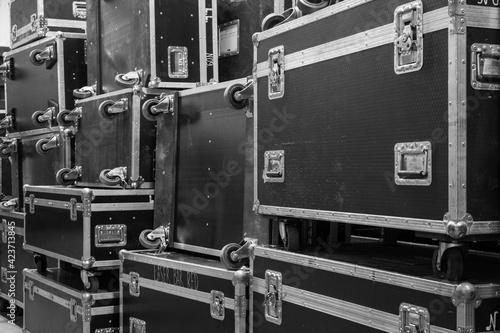 Fotografia Protective flight cases on backstage zone