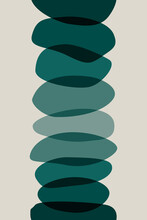 Meditation Flat. Poster With Ovale Stones Minimalist Style Overlay. Vector Illustration. Abstract Shape Rocks Background. Cool Print Tshirt Design. Balance Zen Concept. Pattern Seamless