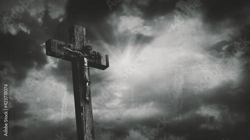 Obraz na plátně Jesus Christ crucified at Golgotha hill outside ancient Jerusalem