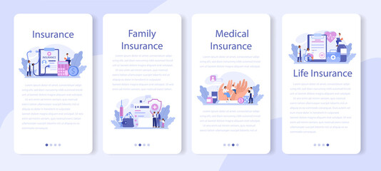 Health insurance mobile application banner set. Idea of security