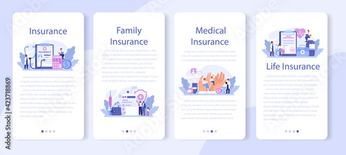 Stampa su Tela Health insurance mobile application banner set. Idea of security