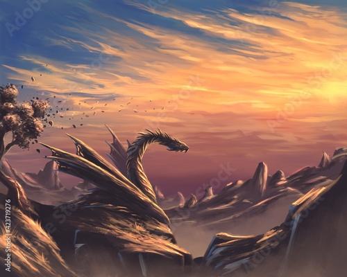 Fototapeta Fantasy dragon in the mountains