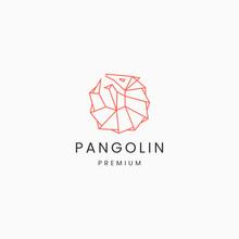 Mono Line Pangolin Animal Logo Icon Design Template Vector Illustration