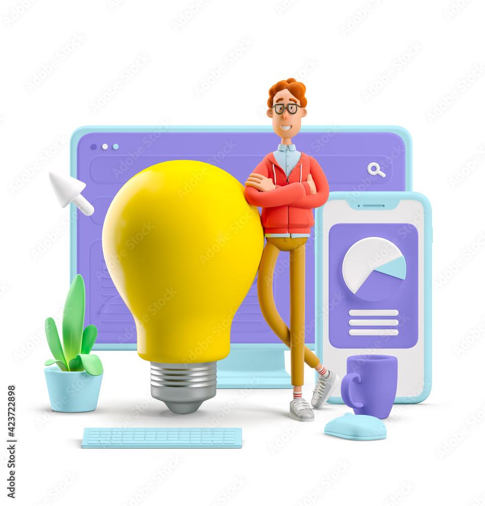 Fototapeta 3d illustration. Nerd Larry with interface. Idea and innovation technology concept.