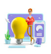canvas print picture - 3d illustration. Nerd Larry with interface. Idea and innovation technology concept.