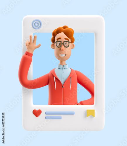 Fotografie, Obraz 3d illustration. Social media concept. Nerd Larry greeting you.