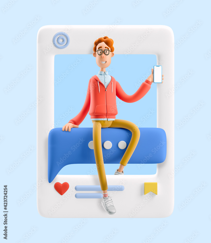 Fototapeta 3d illustration. Social media concept. Nerd Larry sits on a bubble talk.