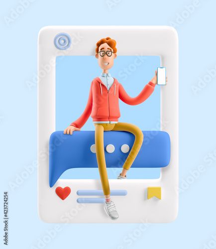 3d illustration. Social media concept. Nerd Larry sits on a bubble talk.