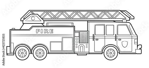 Fotografia, Obraz American fire engine illustration  - simple line art contour of vehicle